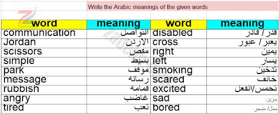 مفردات..Write the Arabic meanings of the given words