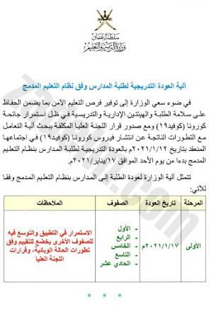 وزارة التربية تحدد آلية العودة التدريجية للطلبة
