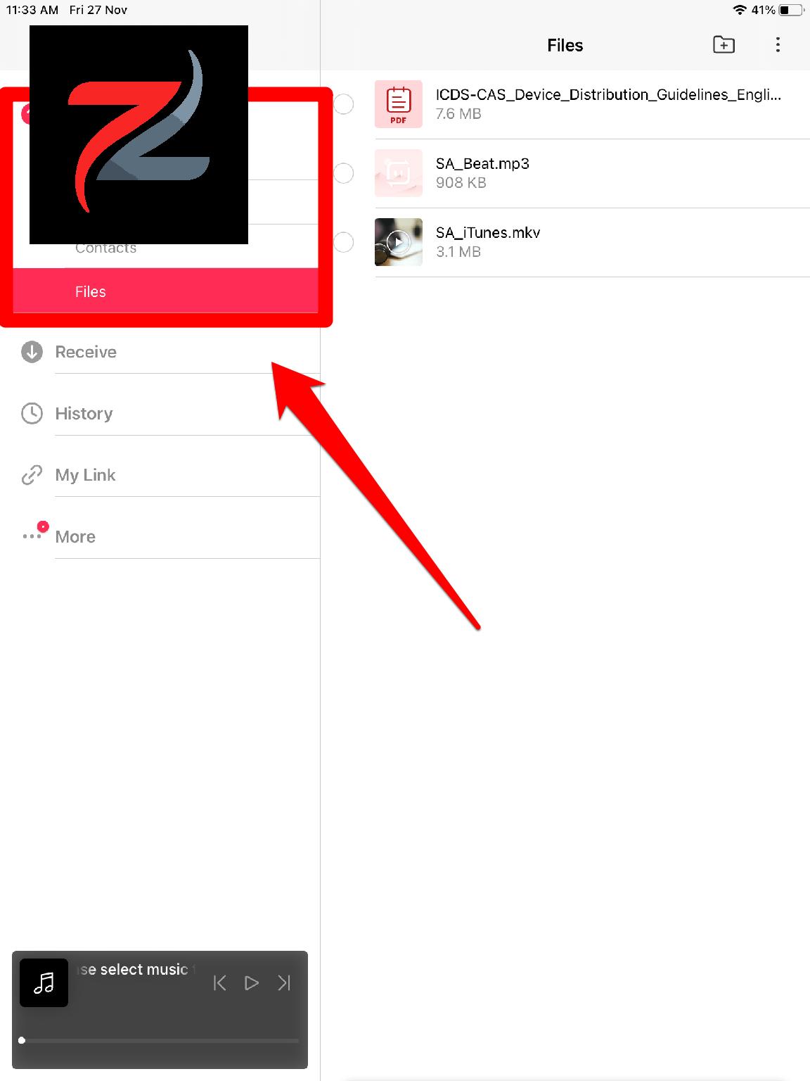 إرسال الملفات ومقاطع الفيديو وجهات الاتصال