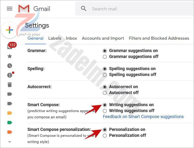 تمكين الاقتراحات النصية المدعومة بالذكاء الاصطناعي في Gmail