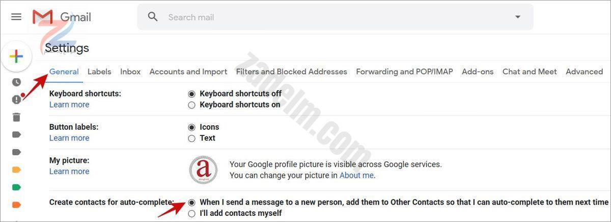 قم بتمكين Gmail لإنشاء جهات الاتصال تلقائيًا