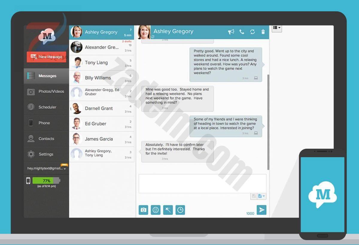 MightyText لمشاركة المحادثات عبر الأجهزة