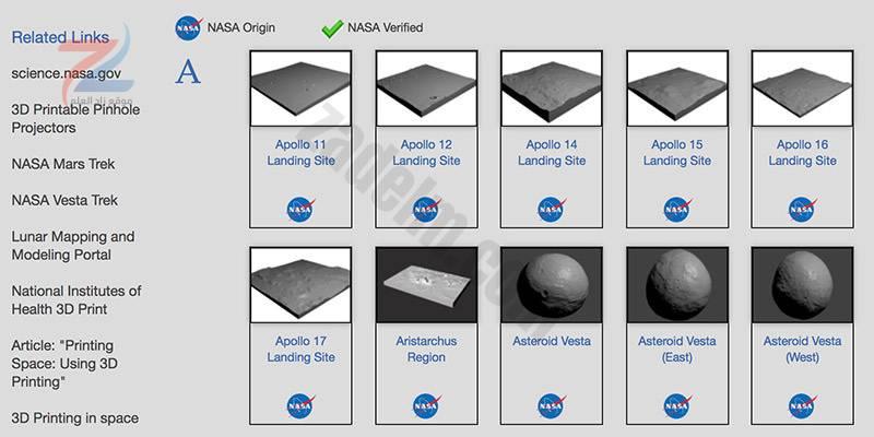 موارد ثلاثية الأبعاد من وكالة ناسا