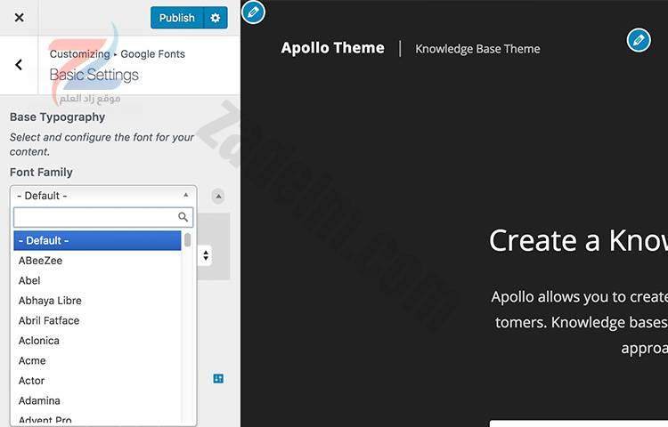 اختيار خطوط Google في شاشة تخصيص WordPress