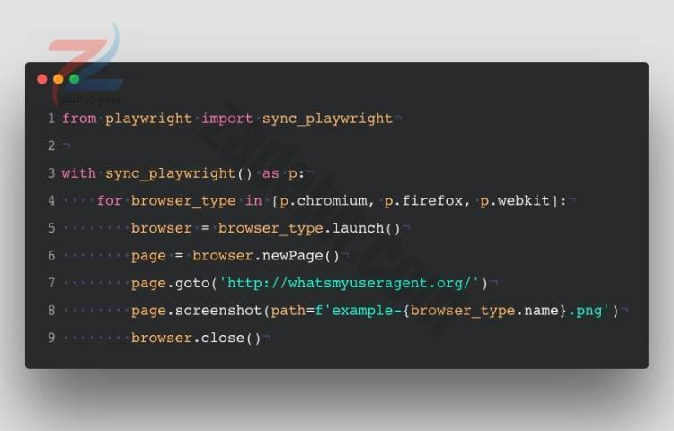 مثال بناء جملة Python Playwright