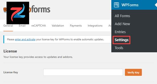 إدخال مفتاح ترخيص WPForms على موقعك
