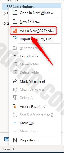"""خيار القائمة """"إضافة موجز ويب جديد لـ RSS""""."""