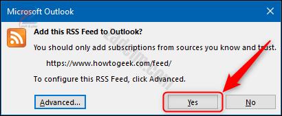 """الزر """"نعم"""" في نافذة تأكيد RSS."""