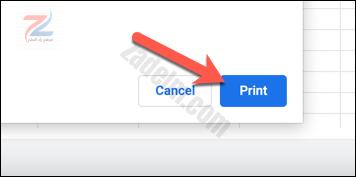 """في مربع حوار الطابعة ، اضغط على خيار """"طباعة"""" لبدء الطباعة."""