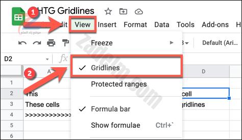 لتعطيل خطوط الشبكة في جداول بيانات Google ، اضغط على عرض> خطوط الشبكة في جدول بيانات مفتوح.