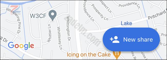 انقر فوق مشاركة جديدة في خرائط Google