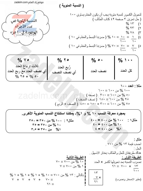 أوراق عمل على النسبة المئوية للصف الخامس الفصل الدراسي الثاني
