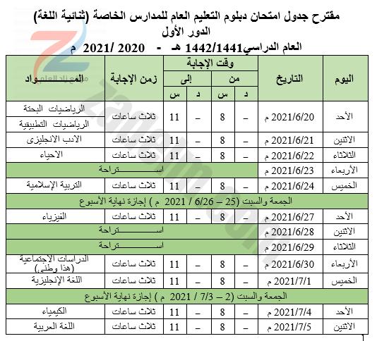 جدول امتحانات دبلوم التعليم العام للمدارس الخاصة (ثنائية اللغة)