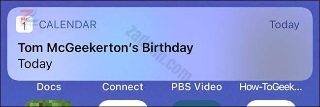مثال على تنبيه عيد ميلاد تقويم iPhone.