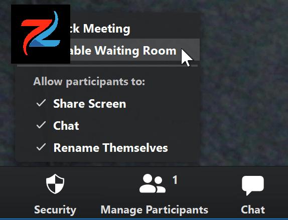 لقطة شاشة لمؤشر الماوس يحوم فوق خيار Enable Waiting Room في تطبيق Zoom.