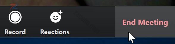 لقطة شاشة لمؤشر الماوس يحوم فوق زر إنهاء الاجتماع في تطبيق Zoom.