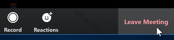 """لقطة شاشة لمؤشر الماوس يحوم فوق الزر """"مغادرة الاجتماع"""" في تطبيق Zoom."""