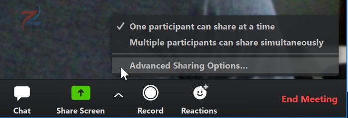 لقطة شاشة لمؤشر الماوس يحوم فوق خيارات المشاركة المتقدمة في تطبيق Zoom.