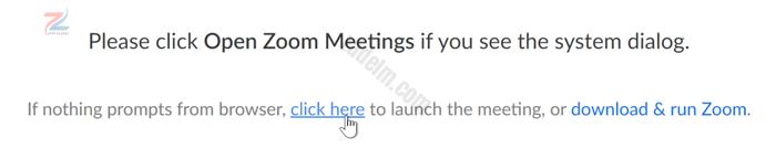 لقطة شاشة لشاشة التشغيل في تطبيق Zoom ، مع تحوم المؤشر فوق العبارة انقر هنا.