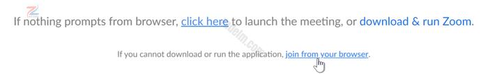 """لقطة شاشة لشاشة التشغيل في تطبيق Zoom ، مع تحوم المؤشر فوق """"الانضمام"""" من متصفحك."""