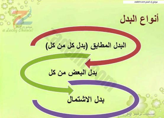 شرح درس البدل وأنواعه لغة عربية للعاشر