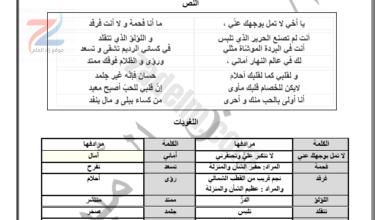 ملخص تمارين وتدريبات لقواعد اللغة العربية للسادس