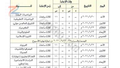 جدول امتحان الدبلوم العام 2020-2021 سلطنة عمان