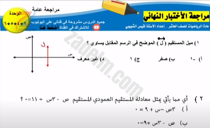 مراجعة الاختبار النهائي لمادة الرياضيات للصف العاشرلمناهج سلطنة عمان